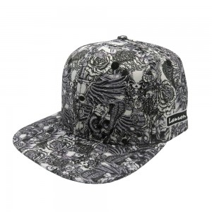 LAUREN ROSE INK'D & SKULL ALLOVER ZWARTE SNAPBACK
