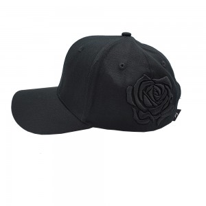 Lauren Rose Black 3D Rose Black Plain Strapback